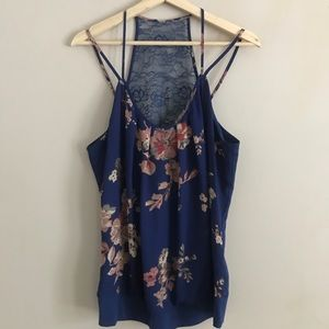 Maurice's Navy Floral Print Tank w/Double Straps